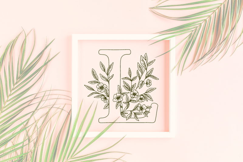 Letter L graphics with floral background