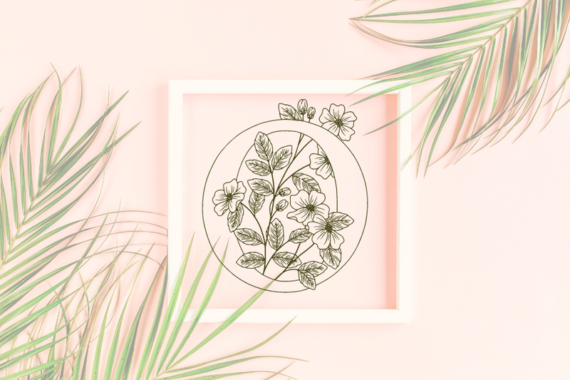 Letter O graphics with floral background