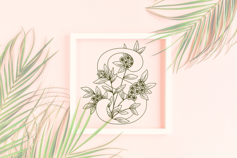 Letter S graphics with floral background