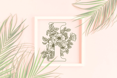 Letter I graphics with floral background