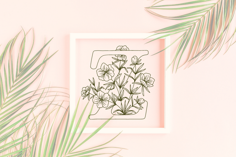 Letter Z graphics with floral background