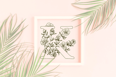 Letter J graphics with floral background