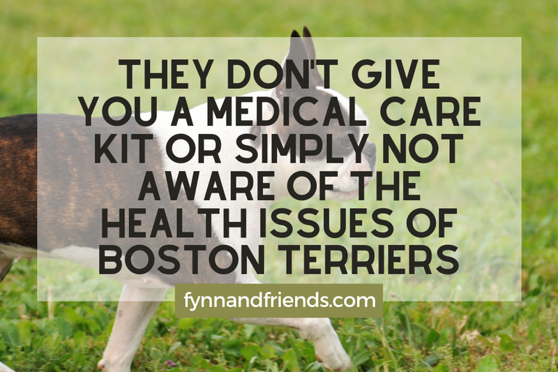 They don't give you a medical care kit or simply not aware of the health issues of Boston Terriers