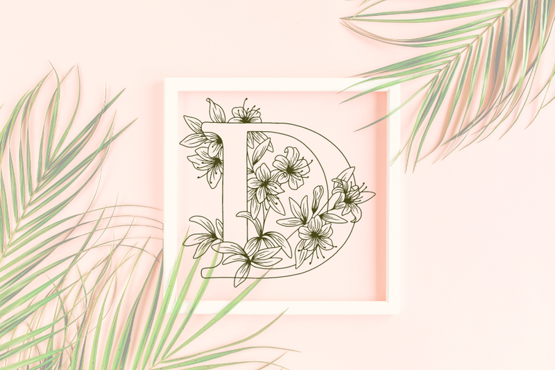 Letter D graphics with floral background