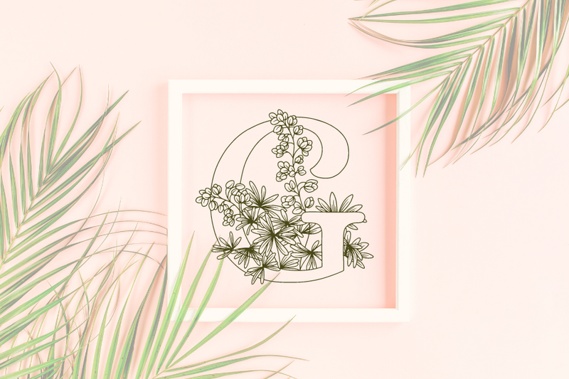 Letter G graphics with floral background