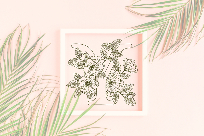 Letter Y graphics with floral background
