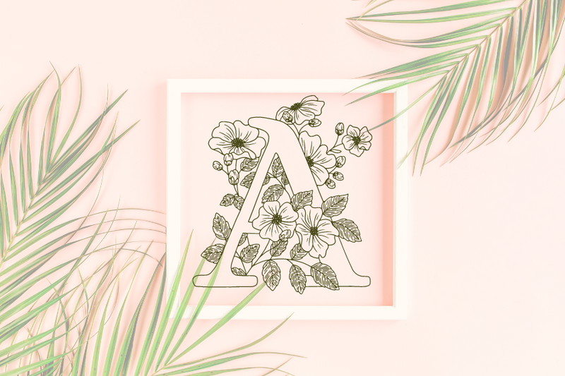 Letter A graphics with floral background