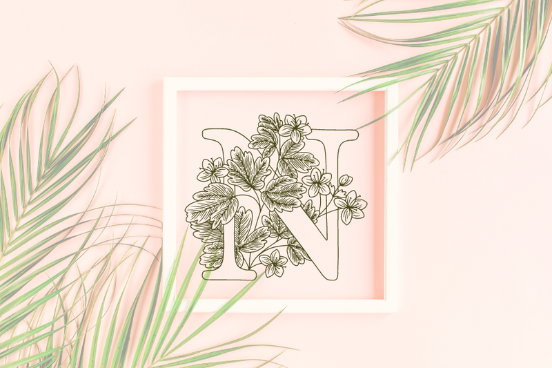 Letter N graphics with floral background