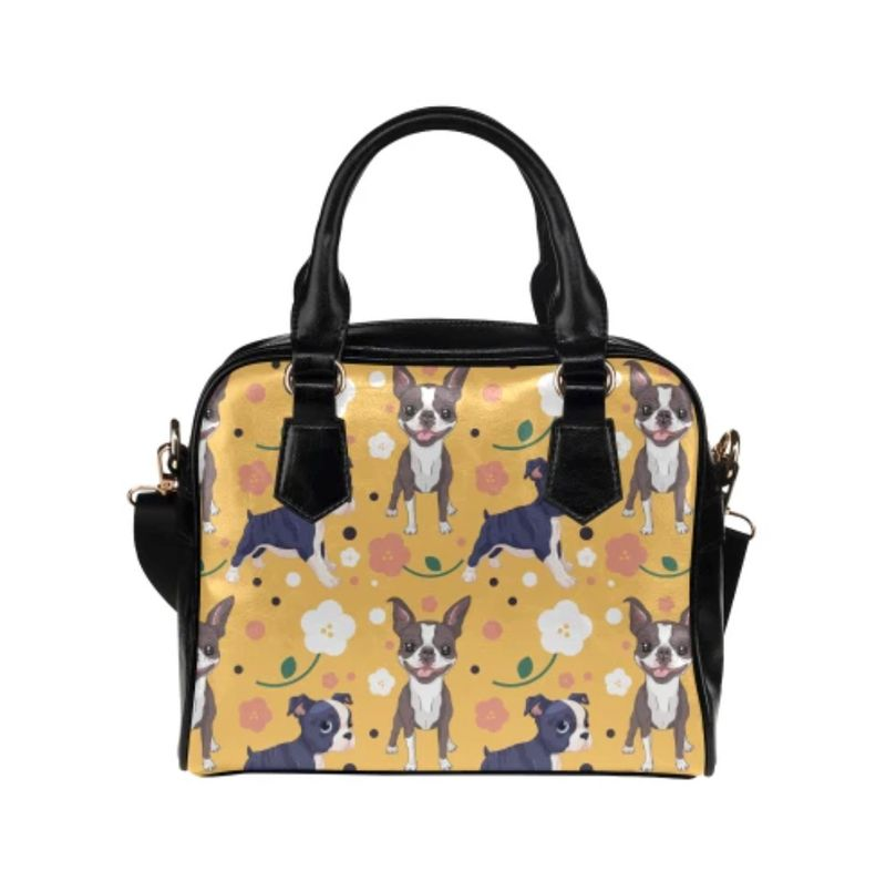 Boston Terrier Flower Shoulder Handbag