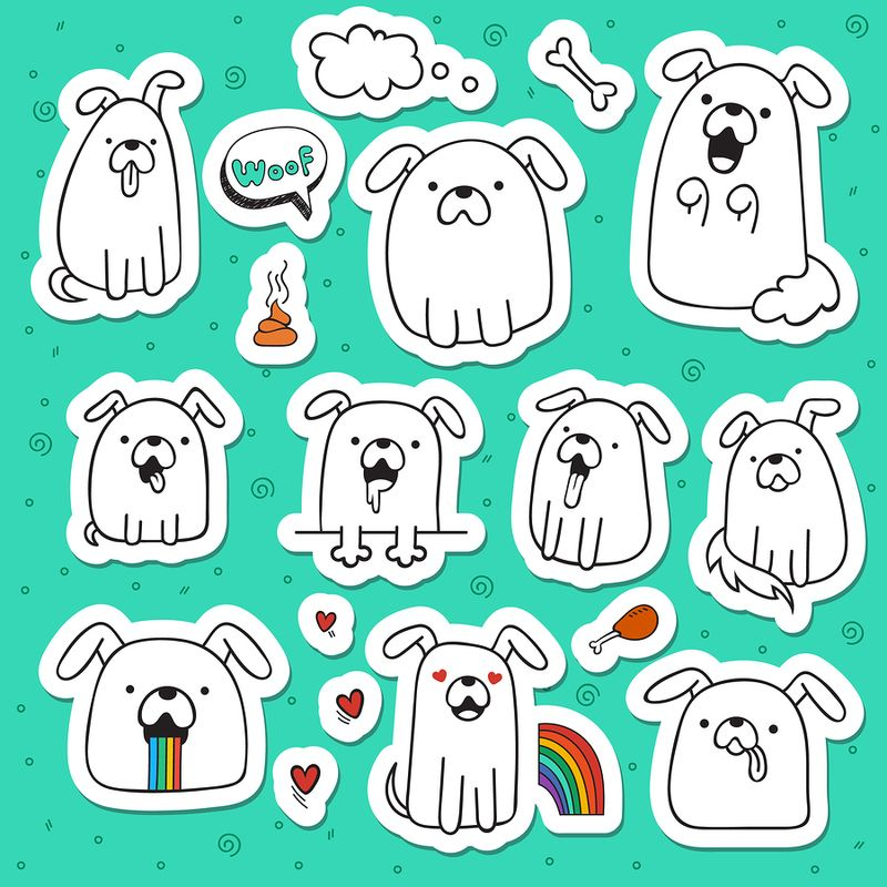 Set of 10 dogs doodle handmade stickers. Dogs with emotions