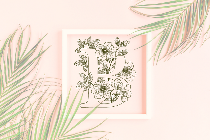 Letter B graphics with floral background