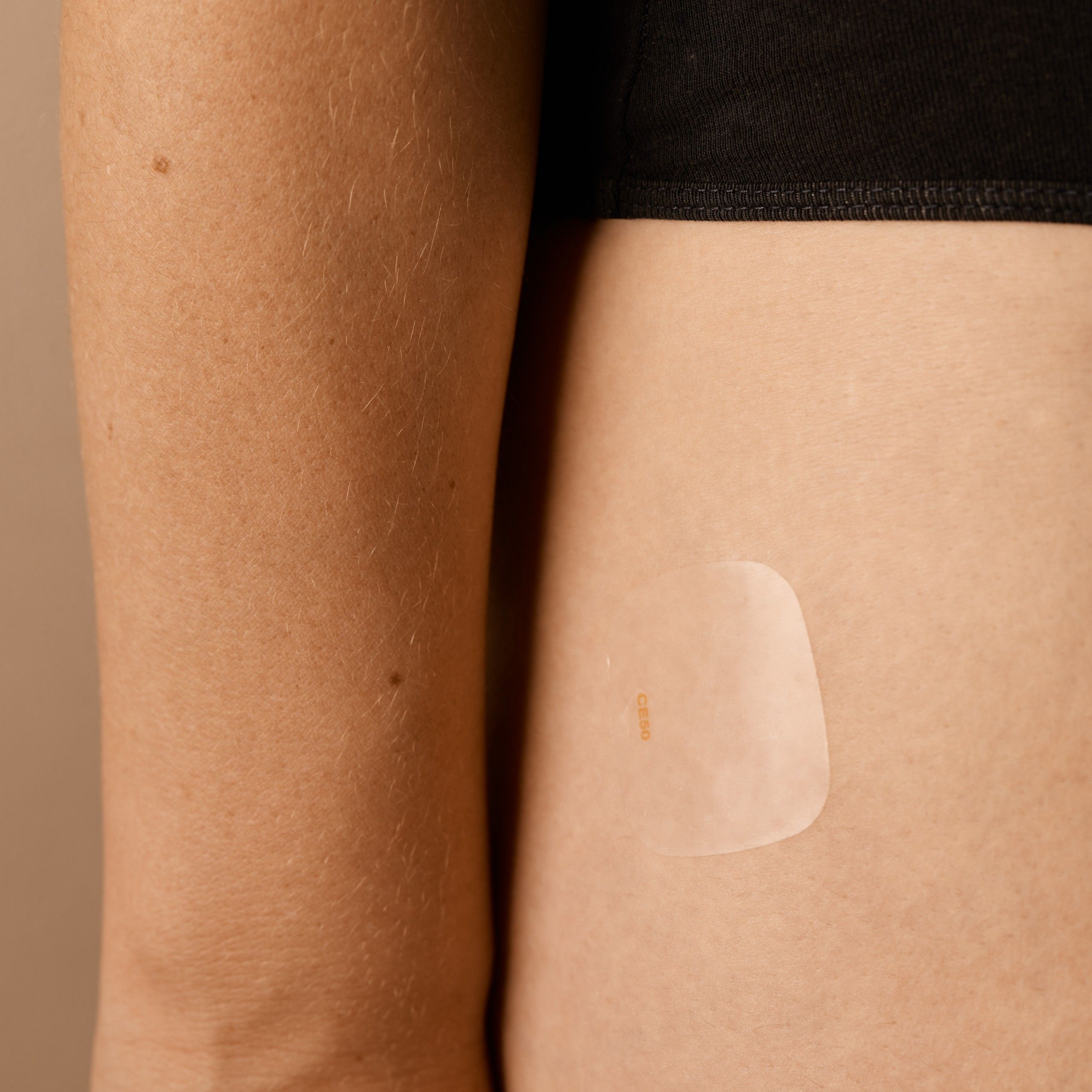 HRT patch applied to skin