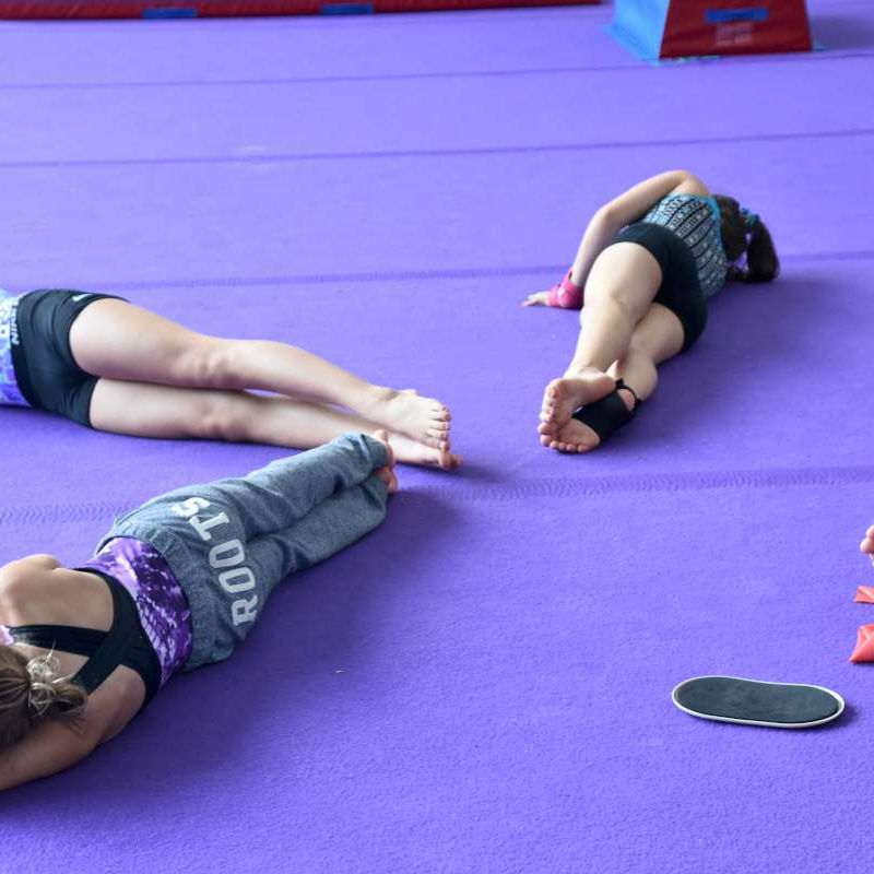 gymnasts training in the gym during NCCP courses at Canadian Adventure Camp