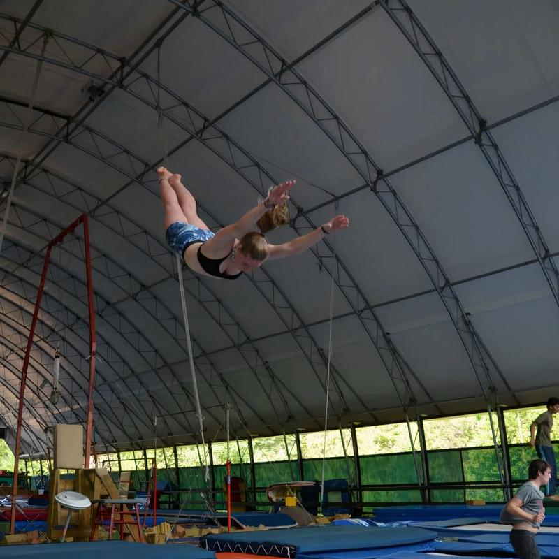 camper training in the trampoline program at Canadian Adventure Camp