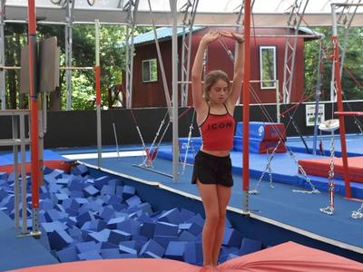 camper training in the gymnastics program at Canadian Adventure Camp