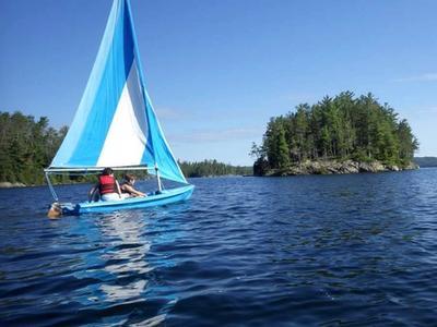 campers sailing on Lake Temagami