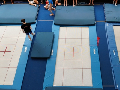 new trampolines in the gymnasium at Canadian Adventure Camp