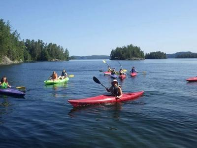 group of campers and staff kayaking on Lake Temagami