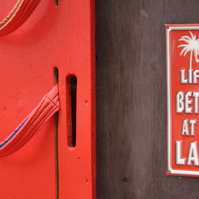 Life is better at the lake sign on the waterfront at Canadian Adventure Camp