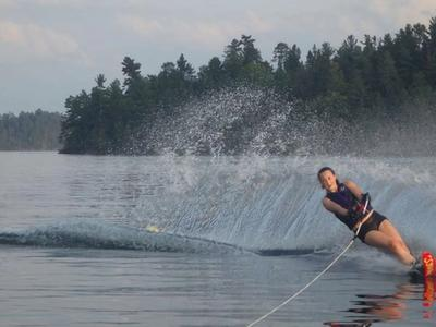 camper waterskiing on the lake at Canadian Adventure Camp