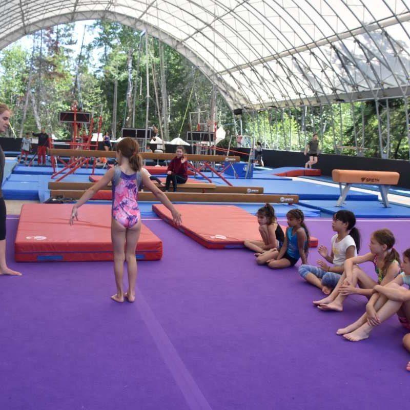 Group of campers training in the gymnastics program at Canadian Adventure Camp