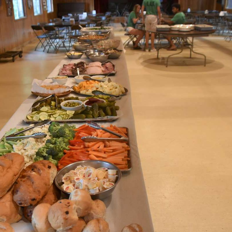 Visitor's day buffet lunch at Canadian Adventure Camp