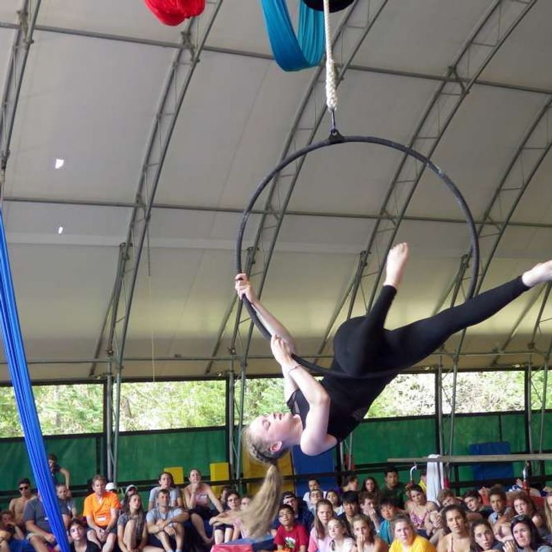 aerials performance during visitor's day at Canadian Adventure Camp