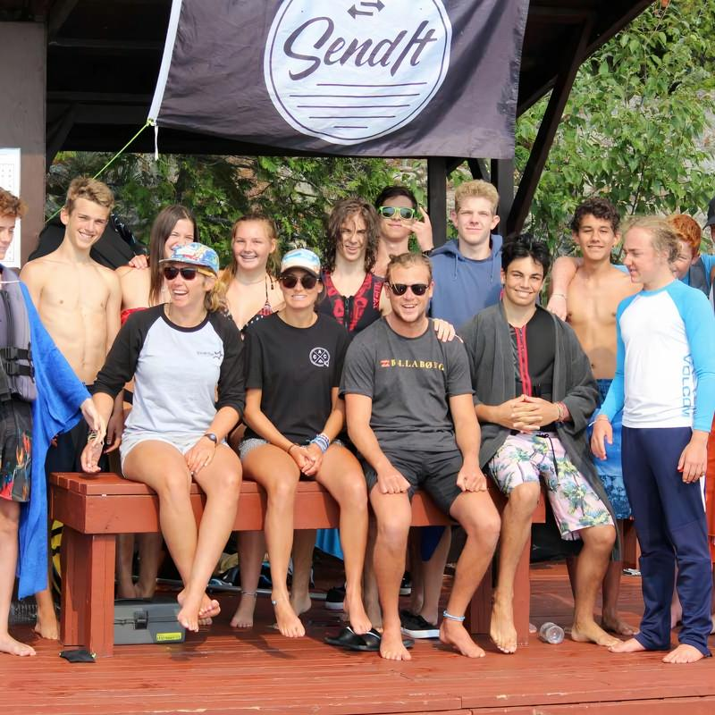 waterski program group photo of coaches and campers on the dock at Canadian Adventure Camp