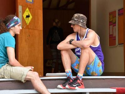 two staff members talking at Canadian Adventure Camp
