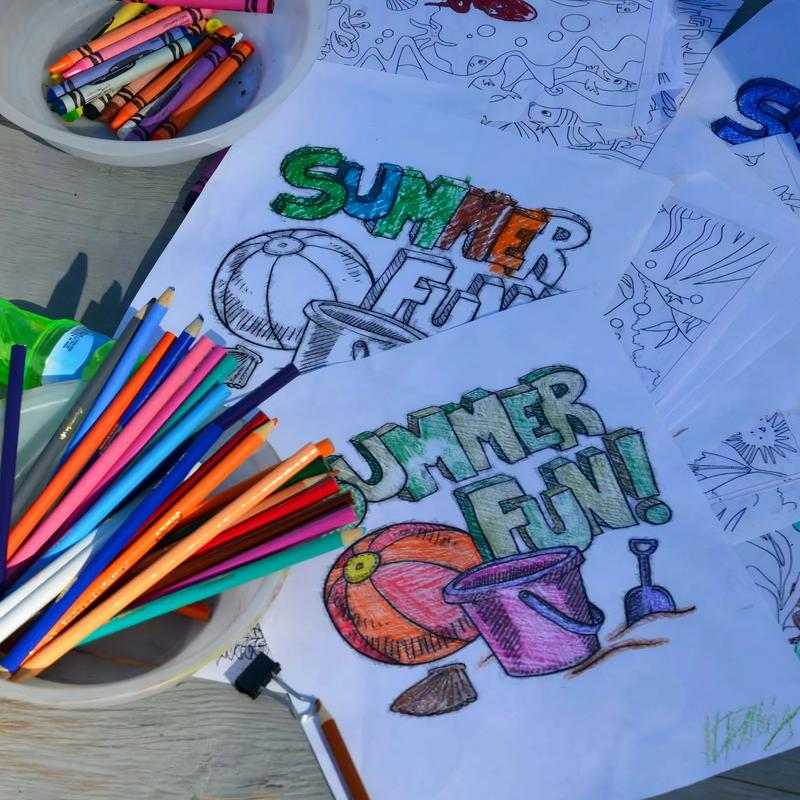 colouring pages at arts and crafts activity
