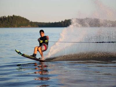 camper waterskiing on Lake Temagami at Canadian Adventure Camp