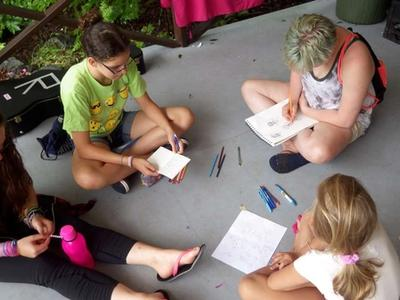 campers writing letters home at Canadian Adventure Camp