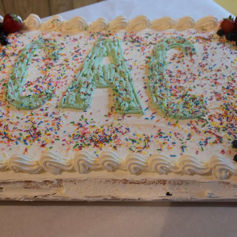 Cake with CAC written in icing at Canadian Adventure Camp