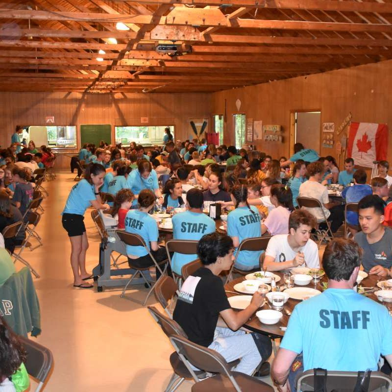 campers and staff having lunch