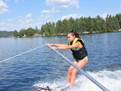 beginner waterskier at Canadian Adventure Camp