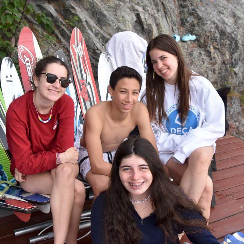 Senior campers in the waterski program.