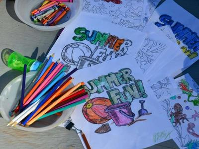 colouring summer fun art pages