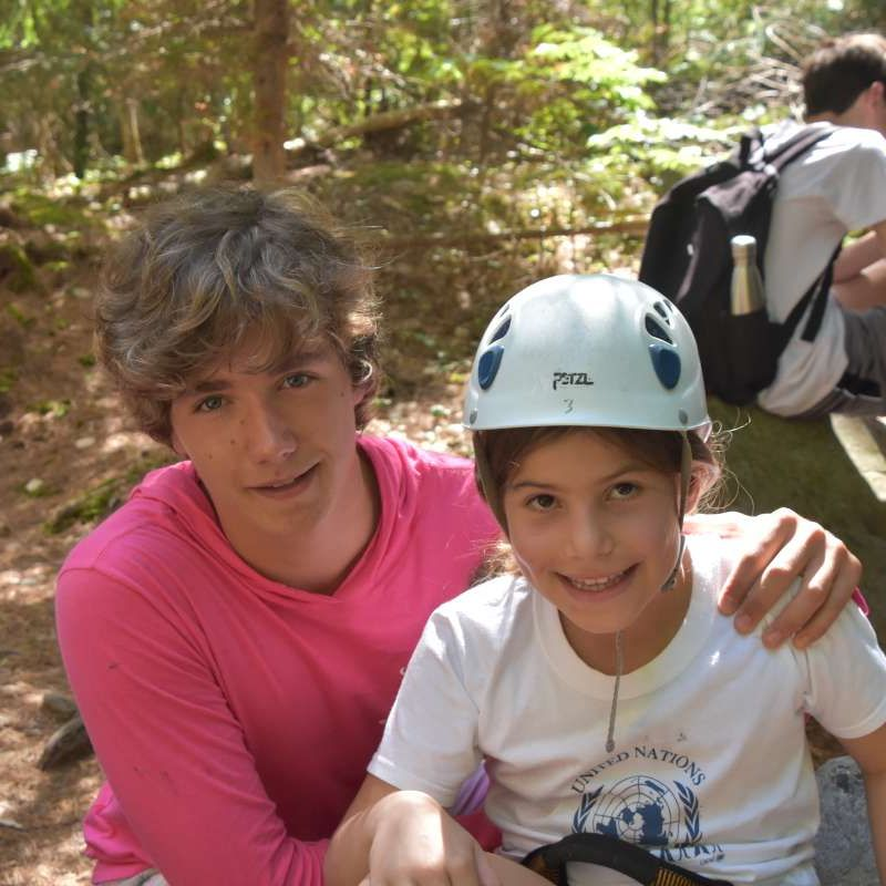 two international campers during rock climbing at Canadian Adventure Camp