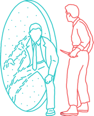 Intro section Illustration of two men fighting near a portal