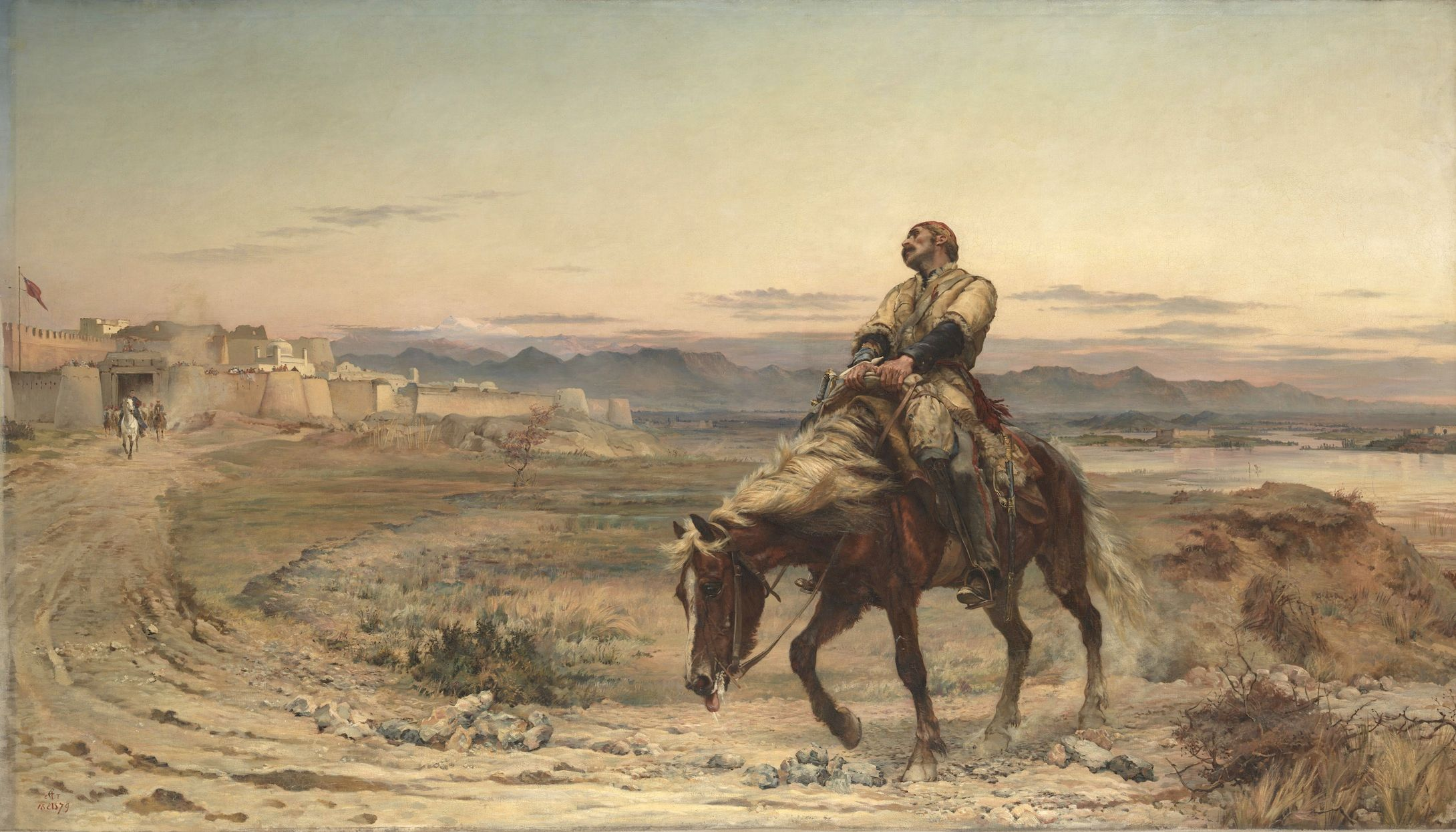 Romantic painting of an exhausted rider returning to a desert city