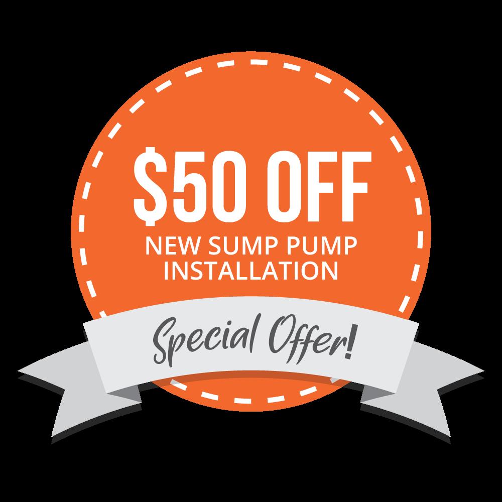 $50 Off New Sump Pump Installation