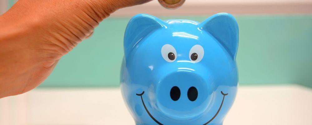 Bilde som viser en sparegris og noen som putter penger på den. Symboliserer hva Haas er - din sparegris