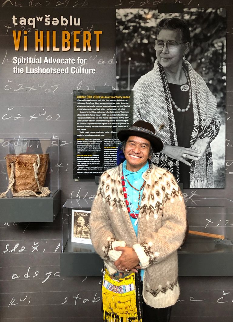 Johnny Moses at the opening of Seattle University's Vi Hilbert Hall