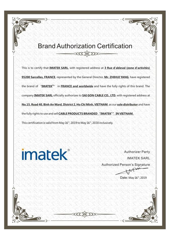 Chứng nhận phân phối độc quyền của Imatek