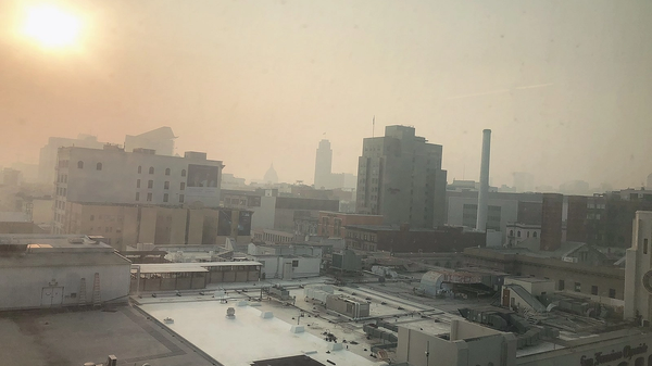 Photo of San Francisco looking as if it has a sepia color filter