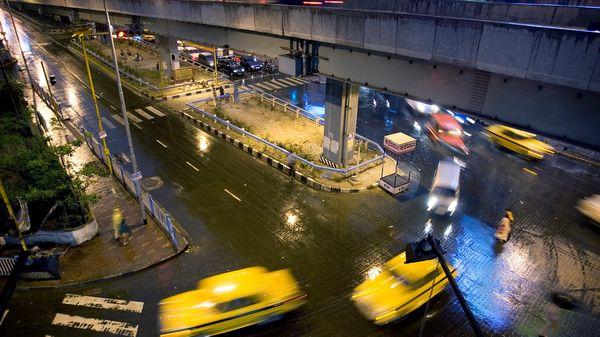 Photo of a rainy busy street