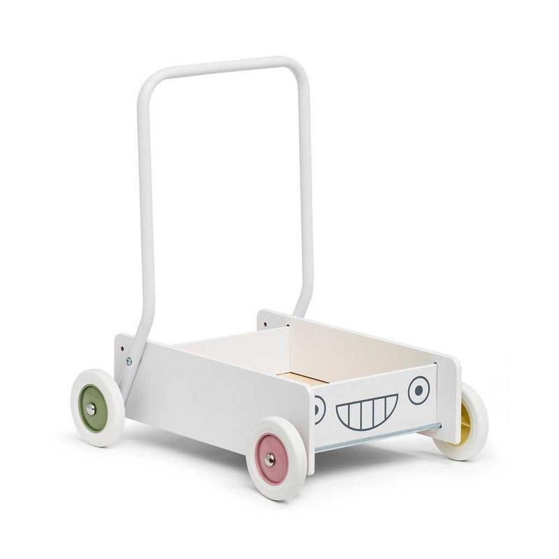 MICKI lära-gå-vagn i vitt och pastell