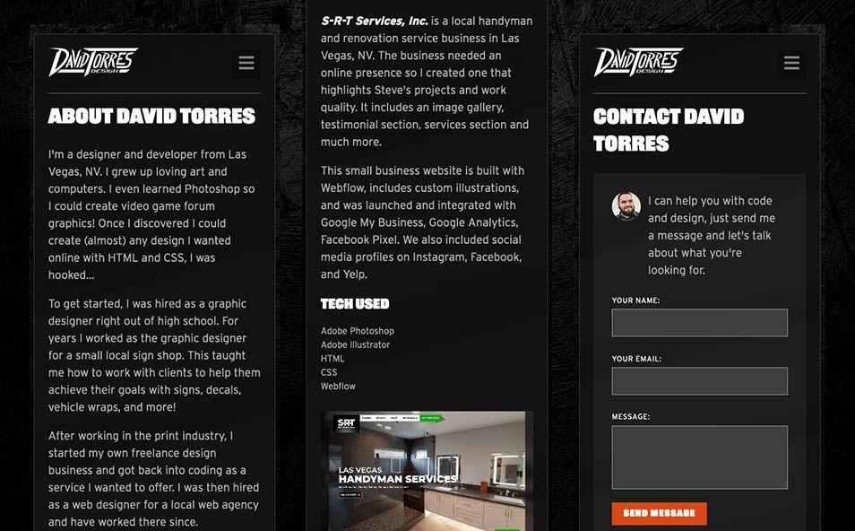 Portfolio site designed for responsive and mobile viewing