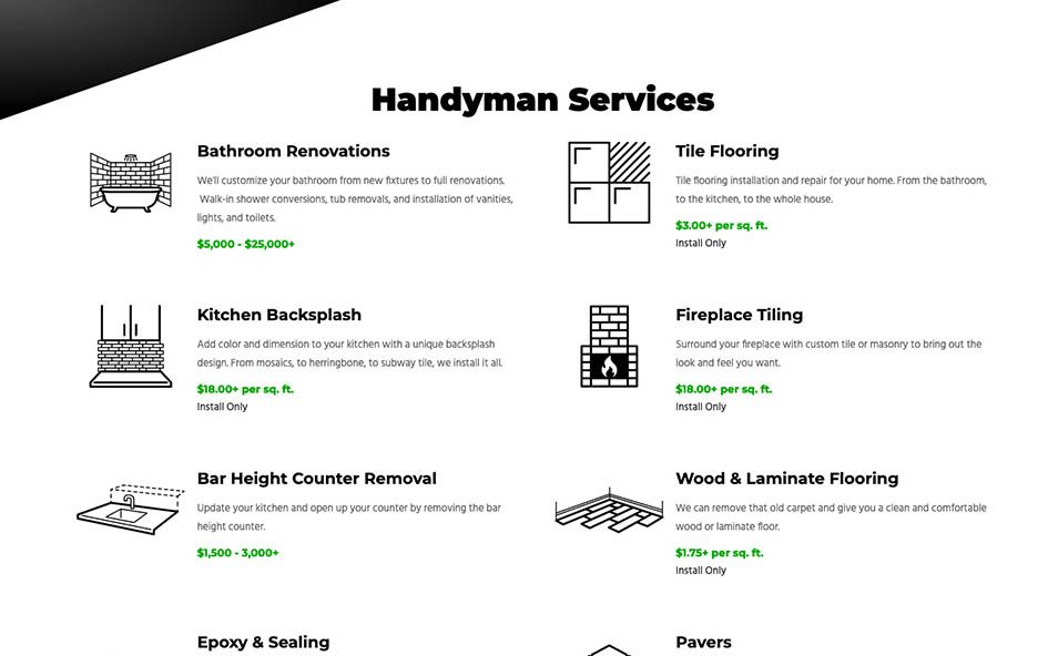 S-R-T Services Services Section with custom illustrations