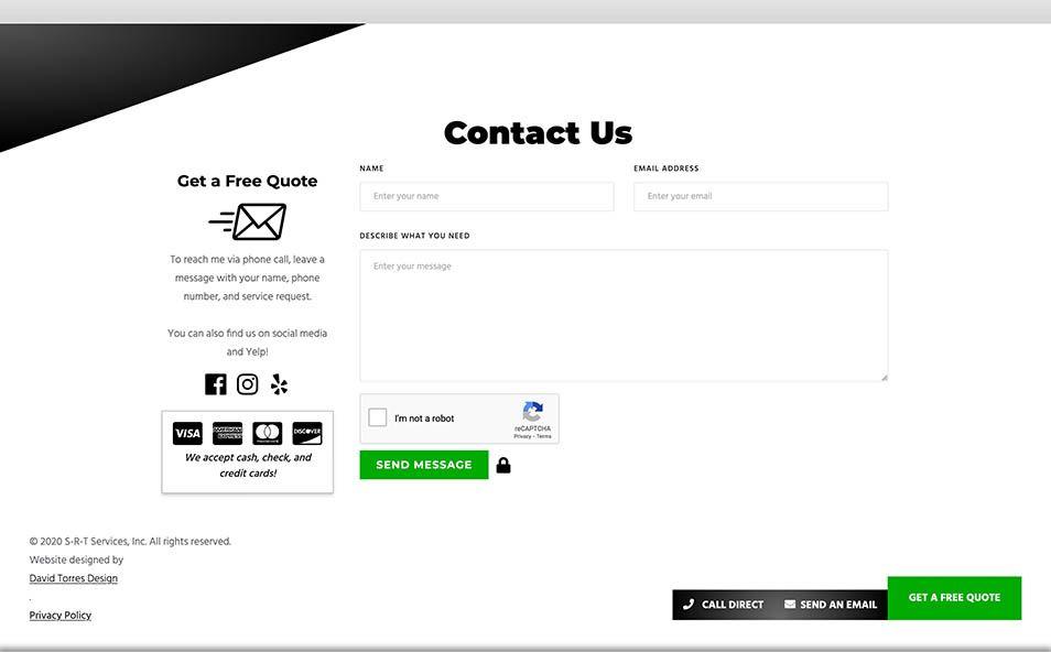 S-R-T Services Handyman Custom Contact Form
